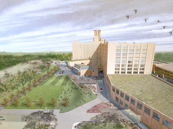 An artist rendering shows the future plans for Crosstown Concourse.
