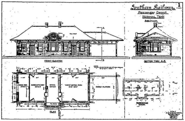 Original blueprint of the Normal Depot opened in 1912. (Memphis Public Libraries)