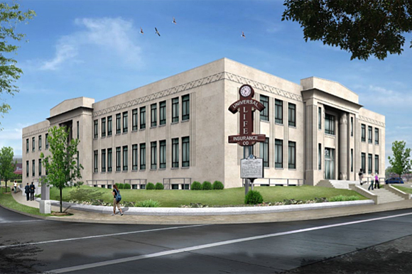 Rendering for the restoration of the Universal Life building.