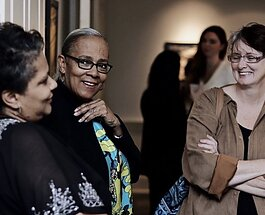 "Guests attend the ""Lawrence Matthews: To Disappear Away"" exhibit at the Dixon Gallery and Gardens on January 17, 2020. (Dixon Gallery and Gardens, Meka Wilson)"