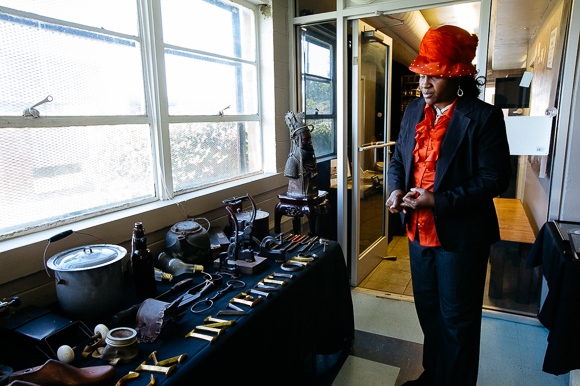 Dr. Carnita Atwater with a selection of her African-American history artifacts.