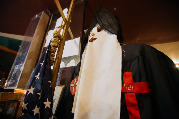 A replica of Ku Klux Klan garb on display at the House of Mtenzi museum.
