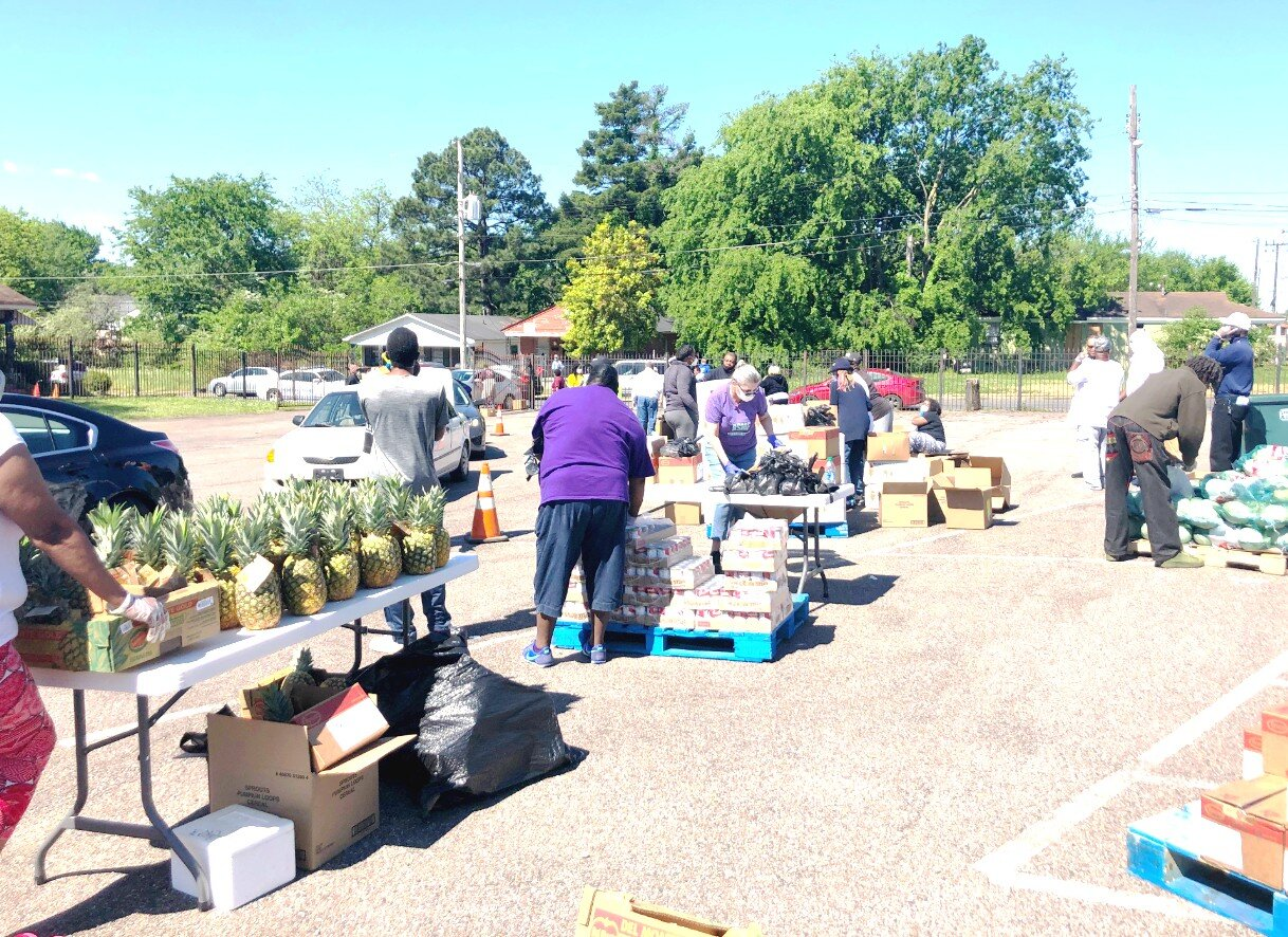 The Time is Now Douglass Community Development Corporation hosted a mobile food pantry in the Douglass neighborhood on April 16th. It was the first mobile pantry held in Douglass since the novel coronavirus pandemic hit Shelby County. (Submitted)