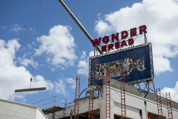 Construction takes place at the former Wonder Bread factory at 400 Monroe Avenue. (Brandon Dill)