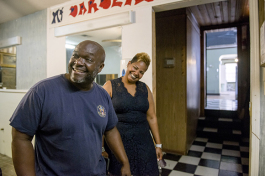 Wendell and Adrena Jackson show the progress of renovations to their restaurant Eggxactly Breakfast and Deli in Whitehaven. (Brandon Dill)