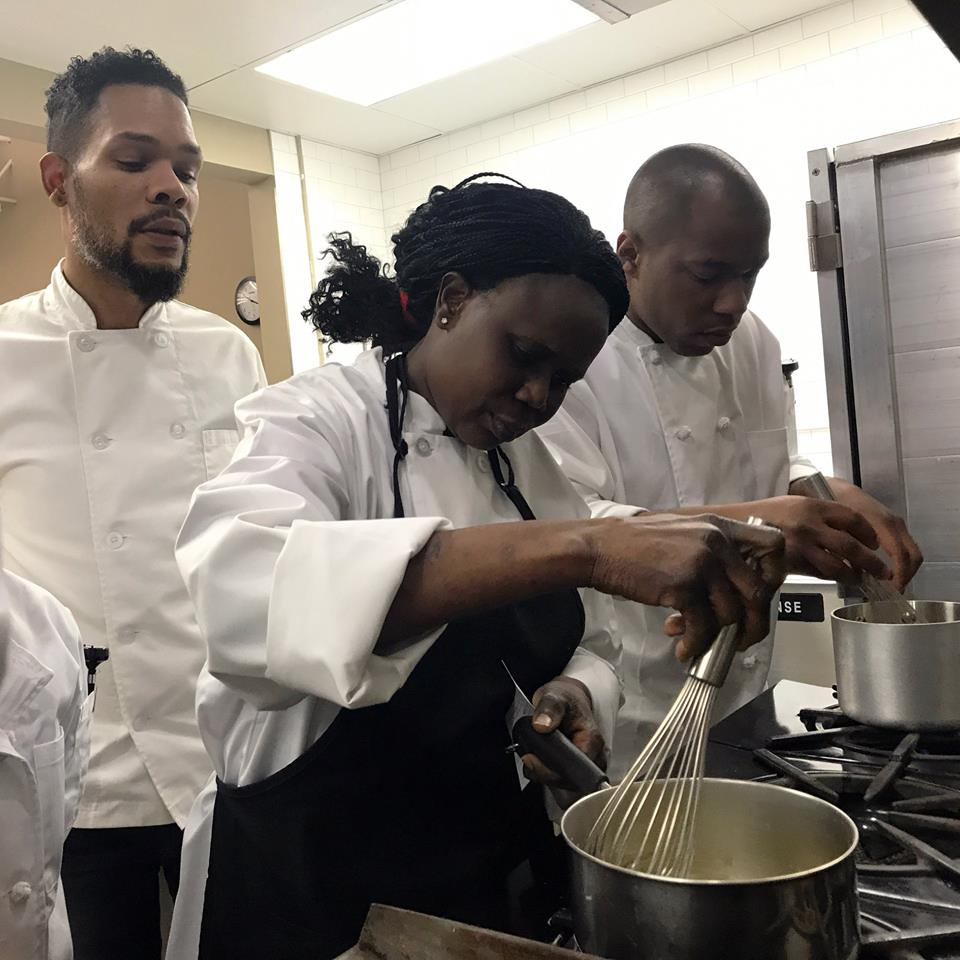 Eli Townsend, executive chef of Sage Memphis, teaches Kaleidoscope Kitchen students. (Submitted)