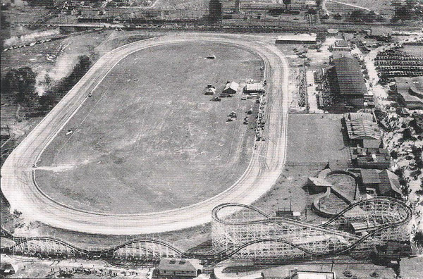 A 1930 aerial photograph shows the Montgomery Park track, the grand stand, casino and Zippin Pippin rollercoaster.