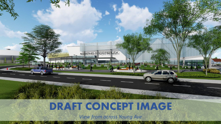 A draft concept image from the City's updated Fairgrounds plan, featuring a youth sports complex. Youth sports is a lucrative, growing tourism sector. Mayor Strickland said the proposal is unique in that it focuses on indoor sports, as the city alrea