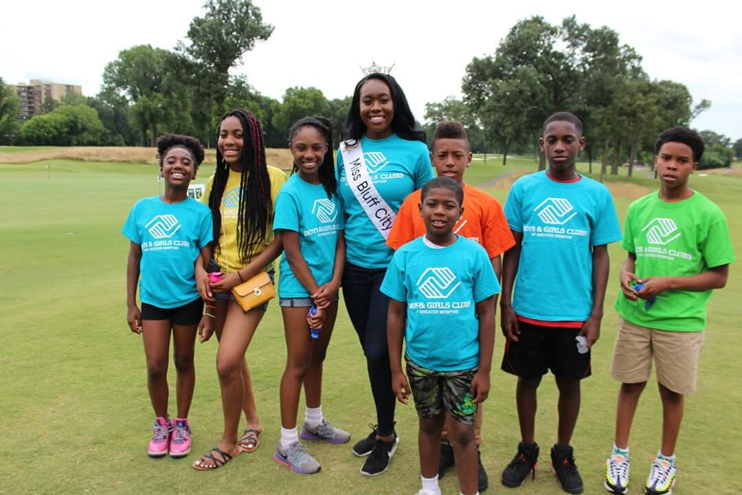 Miss Bluff City 2019, Simone Wilson, poses with North Memphis Boys & Girls Clubs members. Wilson's focus area for her service to the community is working with youth at Boys & Girls club.  (Submitted)
