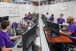 The FedEx Institute of Technology's UMRF Ventures FedEx IT Command Center opened in June 2018 and employs 45 U of M students. (University of Memphis)