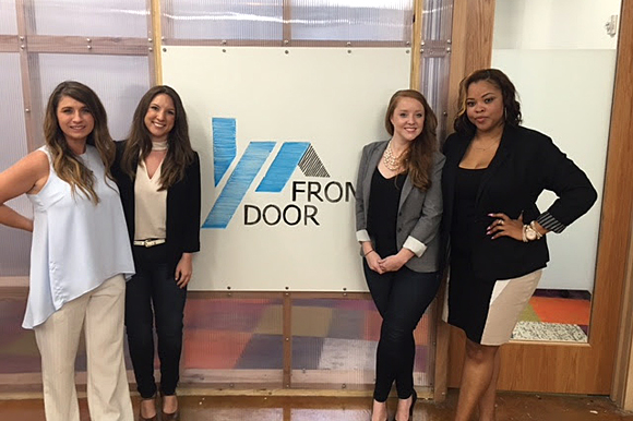 The FrontDoor team are proud of their new offices at The Ground Floor in the ServiceMaster innovation center. From left, Cathi Ladd, Jessica Buffington, Kelly Schricker and Leah Long.