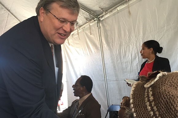 Mayor Jim Strickland greets the crowd at the I AM A MAN Plaza ground breaking ceremony honoring the legacy and leadership of the sanitation workers who marched to make Memphis a fairer and easier place to work during the civil rights movement.