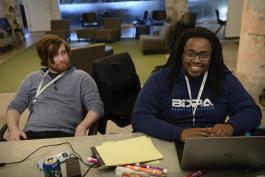 . Kareem Dasilva, right, took home first place honors at the Smarty City: Transportation & Mobility Hackathon on March 15-17 with MemPatch, technology that helps the city streamline identification of potholes. (Submitted)
