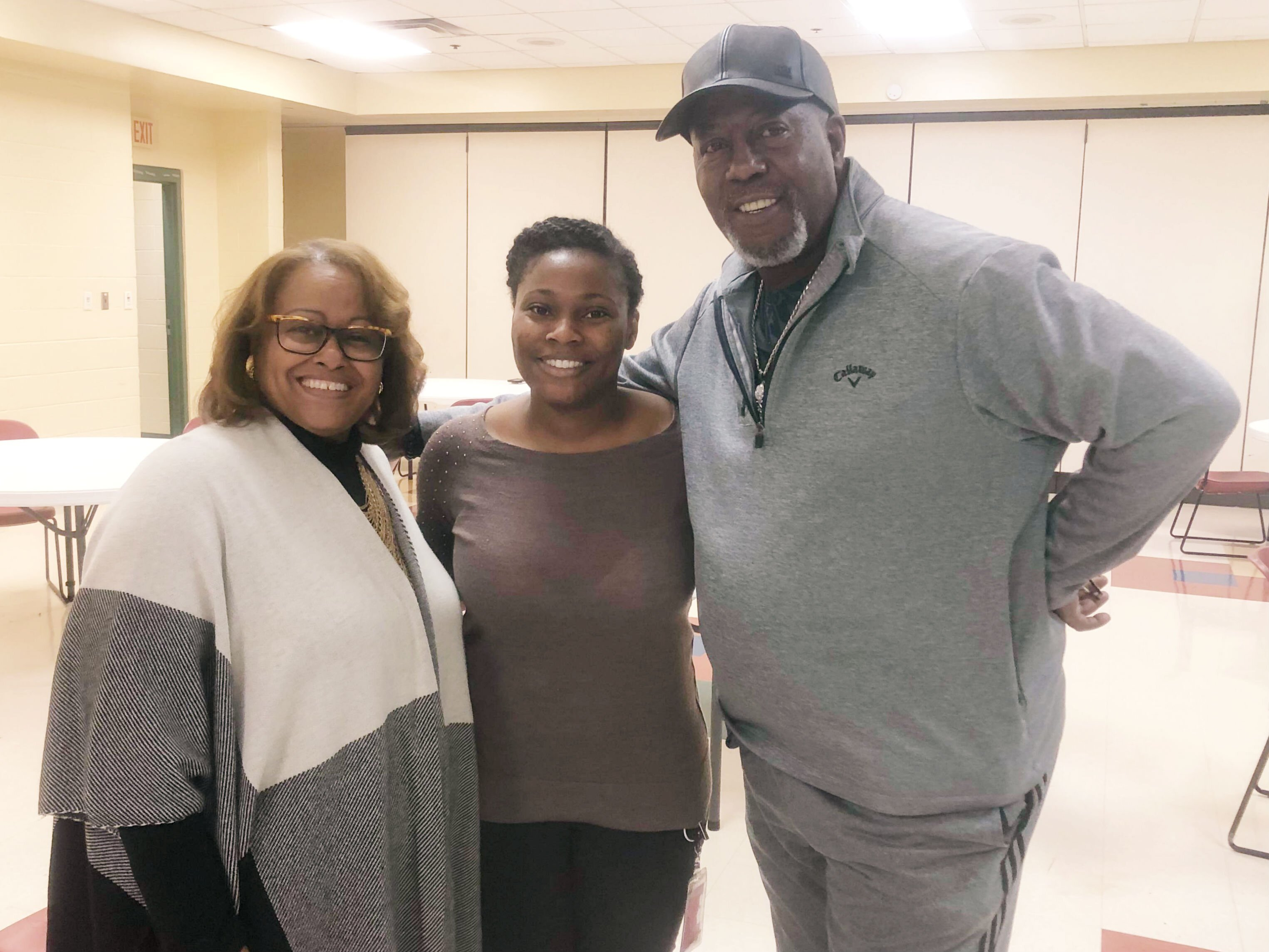 L to R: Councilwoman Patrice Robinson, her assistant, LaKevia Perry, and Hickory Hill resident Rorey Lawrence pose for a photo at the community holiday party held at the Hickory Hill Community Center on November 7. (A.J.Dugger III)