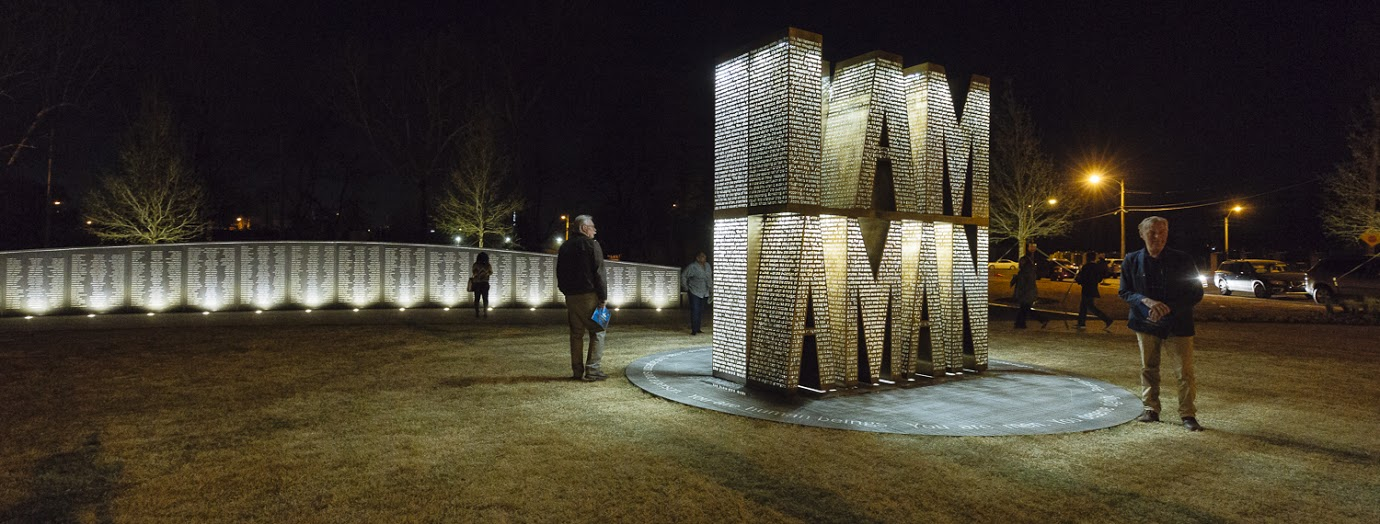 A nighttime view of the I Am A Man plaza outside of Clayborn Temple, near Downtown Memphis.  <span class='image-credits'>Ziggy Mack</span>