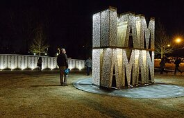 A nighttime view of the I Am A Man plaza outside of Clayborn Temple, near Downtown Memphis.