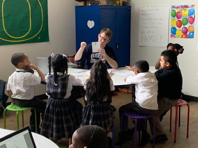 Teacher Brian Hanson teaching ALLMemphis' custom phonics curriculum to a group of students at Power Center Academy Elementary School - Hickory Hill. (ALLMemphis)