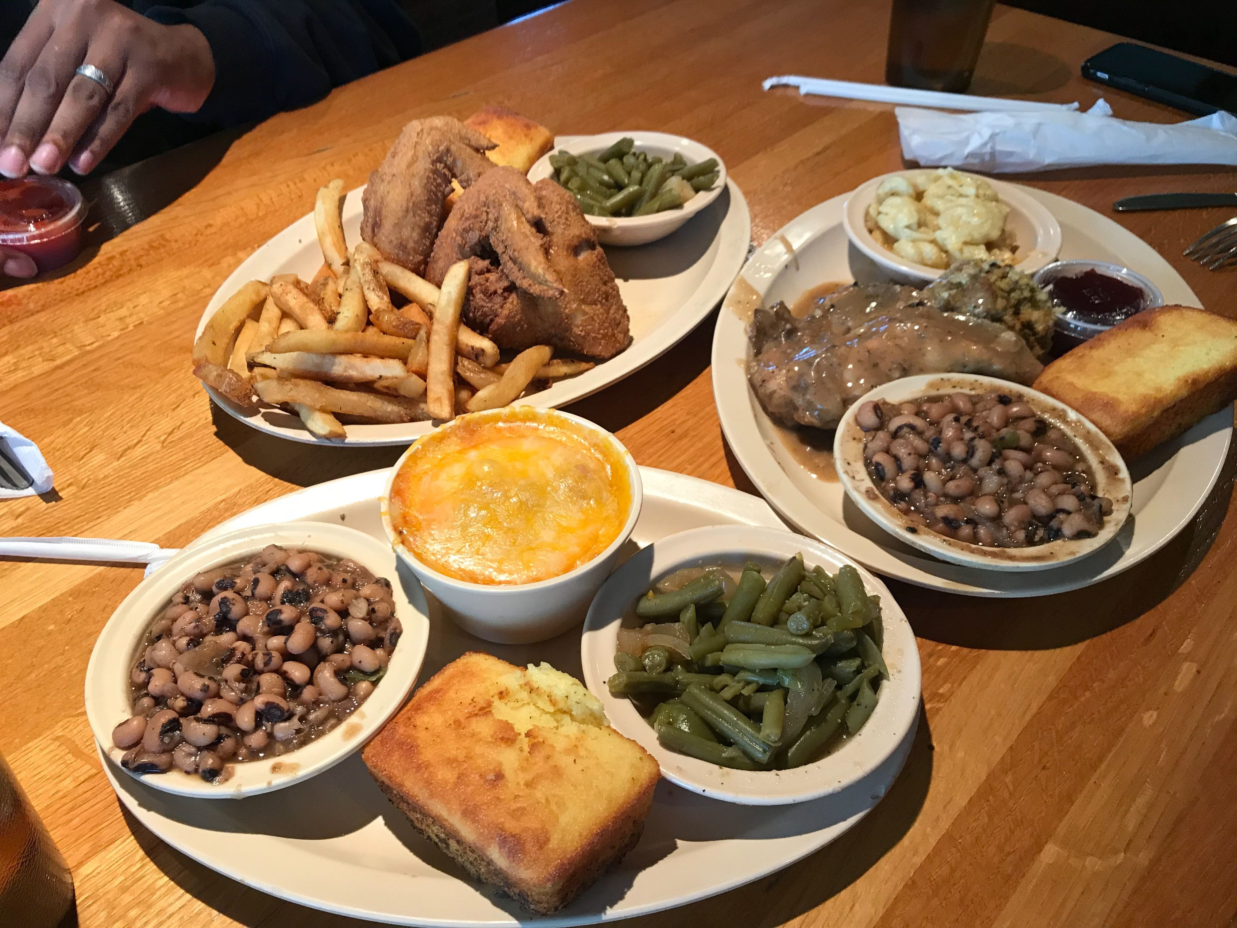 Southern Hands Home Style Cooking offers classic soul food entrees and sides, including smothered pork chops, fried chicken, meat loaf, baked spaghetti, black-eyed peas, and cornbread. (Cole Bradley)