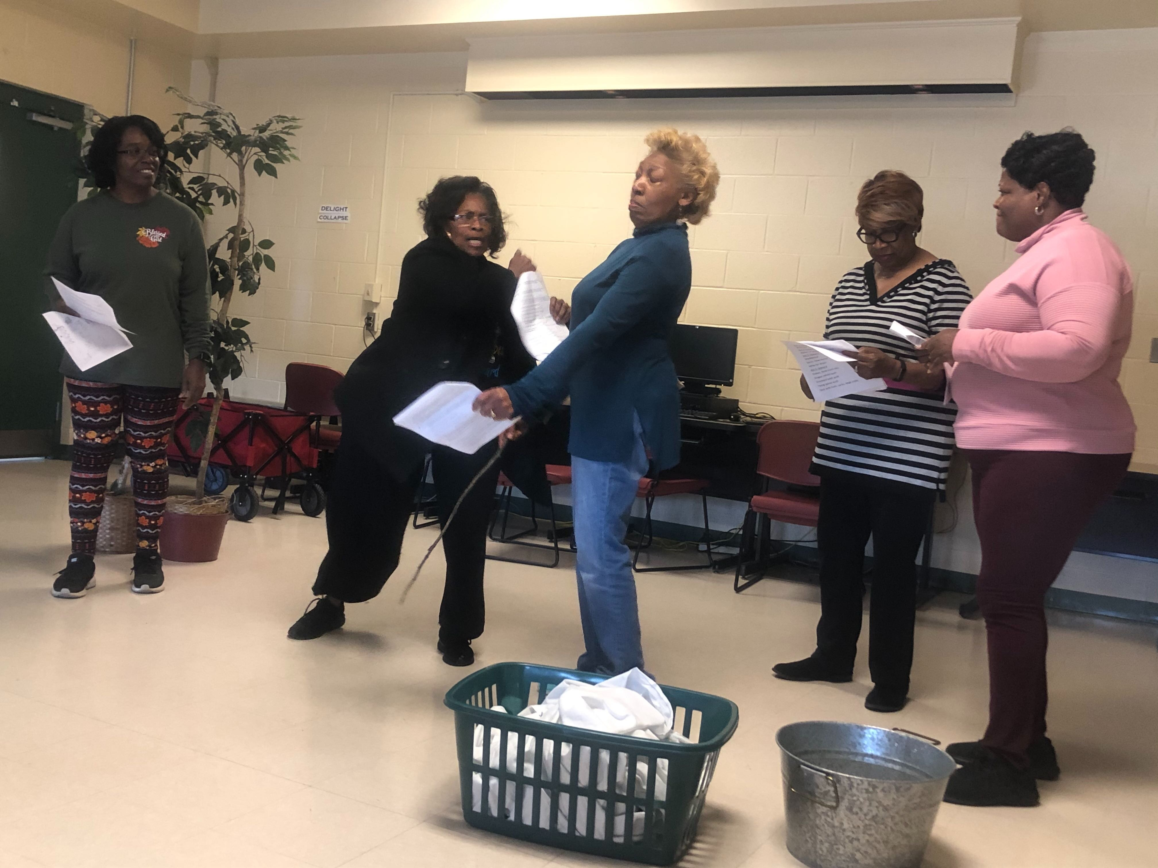 This choreographed slap between two characters will be a powerful moment in the upcoming Black History Month skit performed by the newly formed Hickory Hill Drama Club. (AJ Dugger)