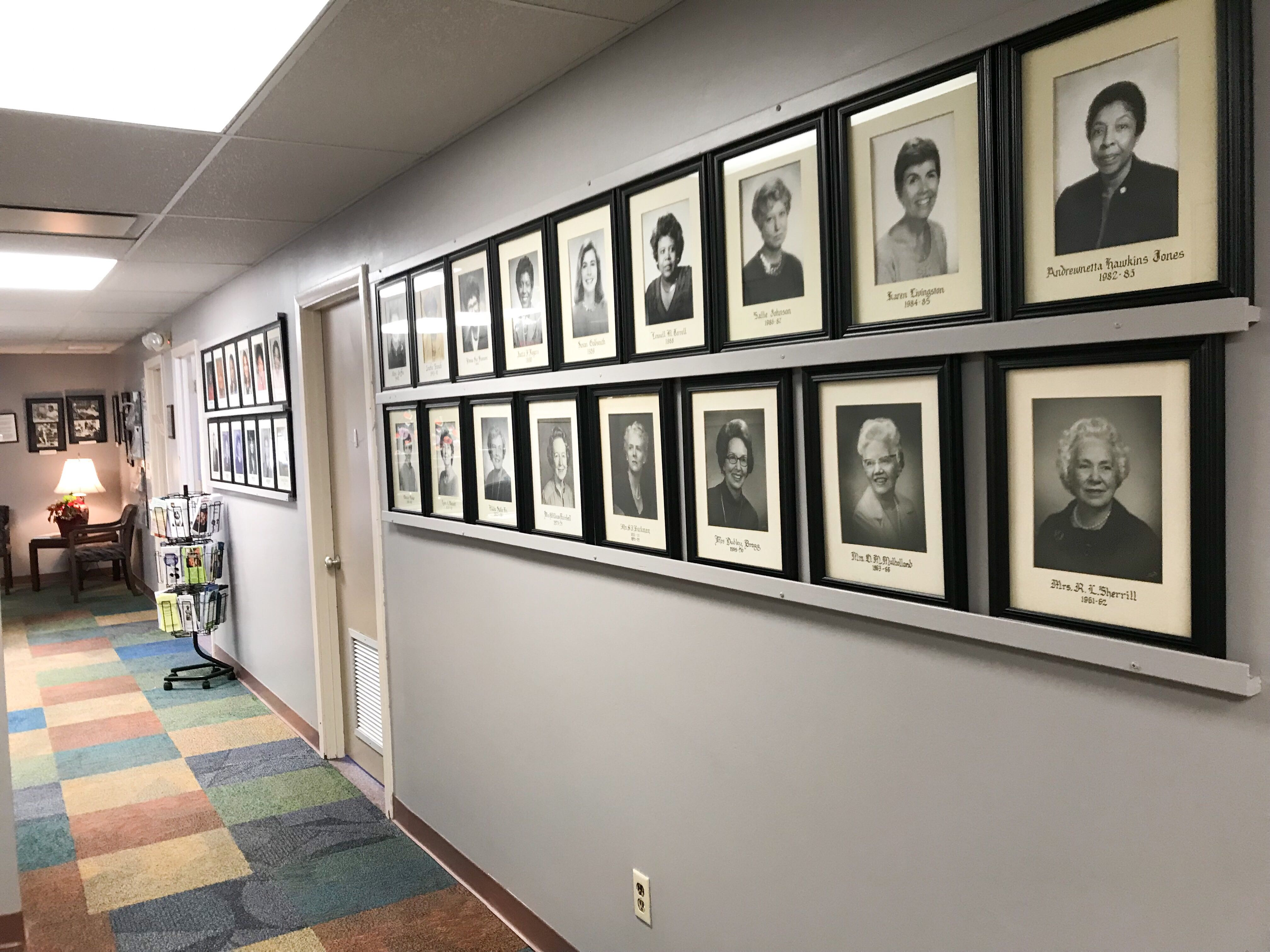 Photos of past board members line the walls of the YWCA of Greater Memphis' headquarters. The YWCA celebrates its 100th year in Memphis this year. (Cole Bradley)