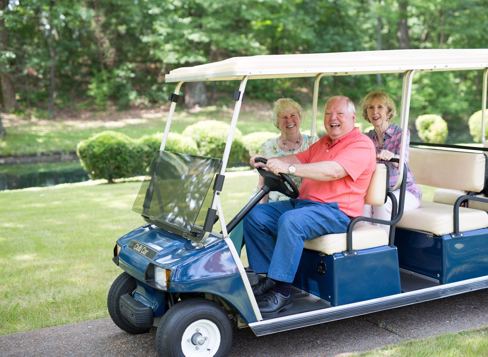 Residents of Kirby Pines ride in style across the expansive Hickory Hill campus. (Kirby Pines)