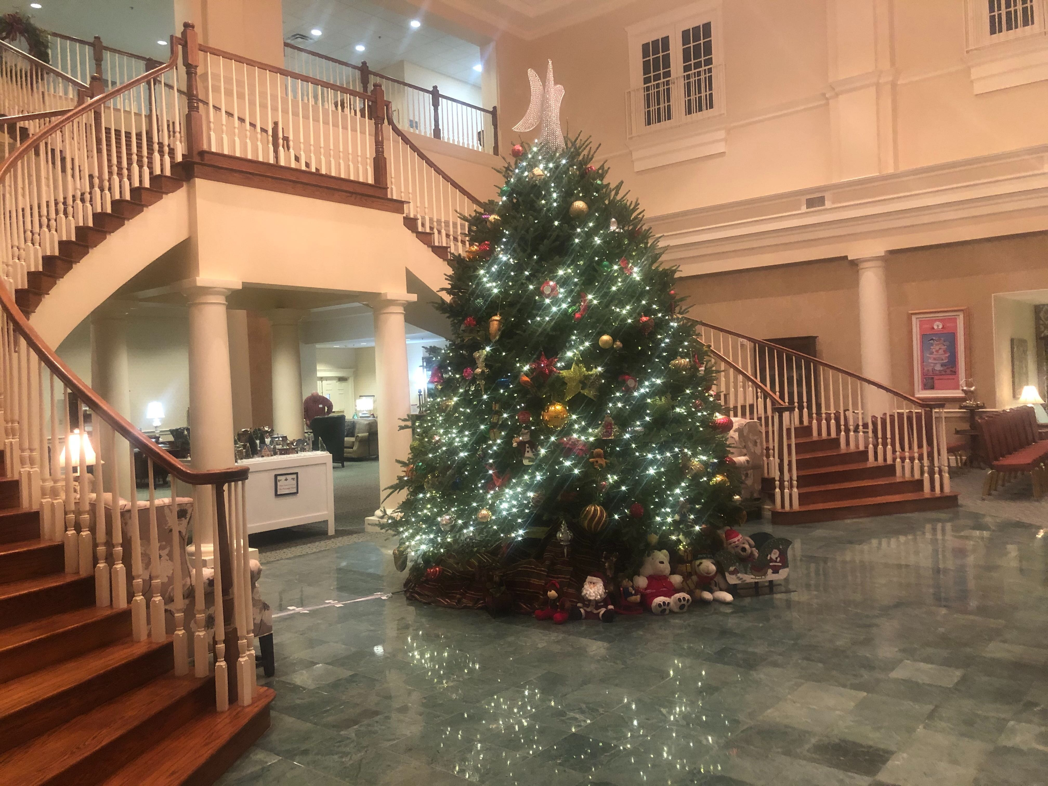 Kirby Pines' grand foyer is currently decorated for the holiday season. (A.J. Dugger)