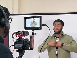 Derion Lipford films his pitch proposal for the judges of ArtUp's North Memphis Incubator. (Sheri Neely)