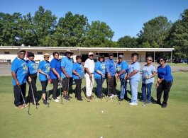 Members of the Hickory Hill Senior Golf Club pose of an official club photo. (Hermon Powers)