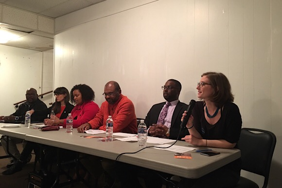 Panelists for Housing in Orange Mound: A Community Conversation (Left to Right): Howard Eddings, Neighborhood Housing Opportunities, Amy Shaftlein, Tennessee Housing Development Agency, Britney Thornton, JUICE Orange Mound, Dwayne Jones, general con