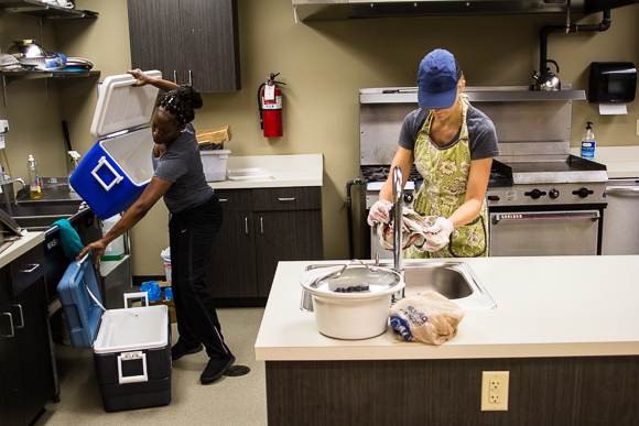 Kristina Fox-Trautman and Charlena Branch cook in the Kaleidoscope Kitchen.