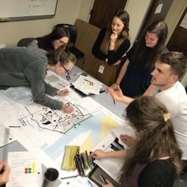 Graduate students at the Department of City and Regional Planning at the University of Memphis use asset mapping to mark areas of great significance in neighborhoods, as expressed by neighborhood residents during community engagement processes.