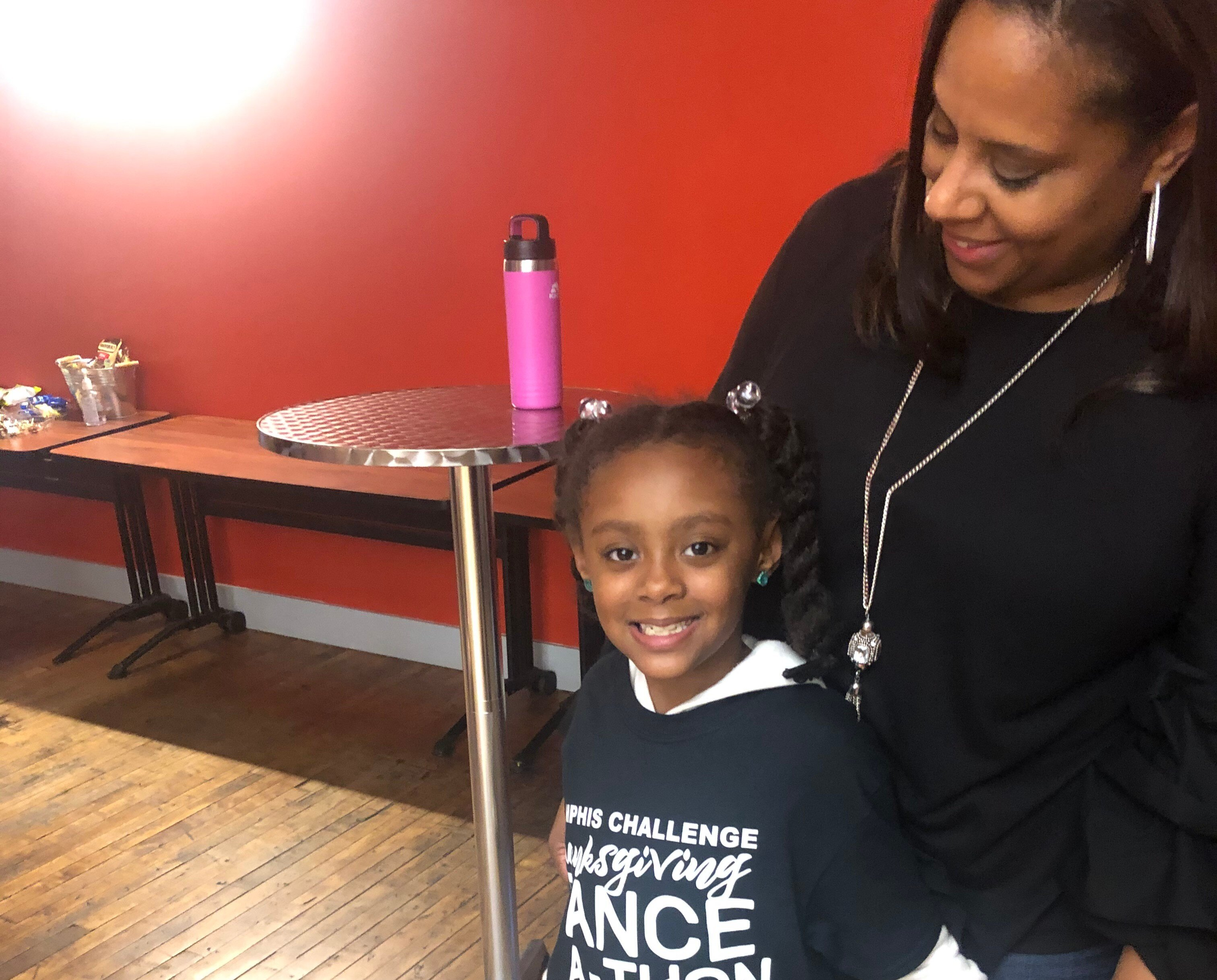 Dr. Angela Anderson,  Memphis Challenge facilitator, with her daughter, Alex Anderson. Alex is a Schilling Farms Elementary student and future Memphis Challenger. She danced alongside the older kid at the Dance-A-Thon. (Memphis Challenge)