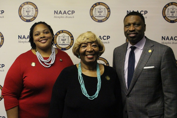 (L to R) County Commissioner Tami Sawyer, Tennessee's NAACP president, Gloria Sweet-Love, and national NAACP president, Derrick Johnson, at the Oct 26 NAACP press conference. (Melonee Gaines)