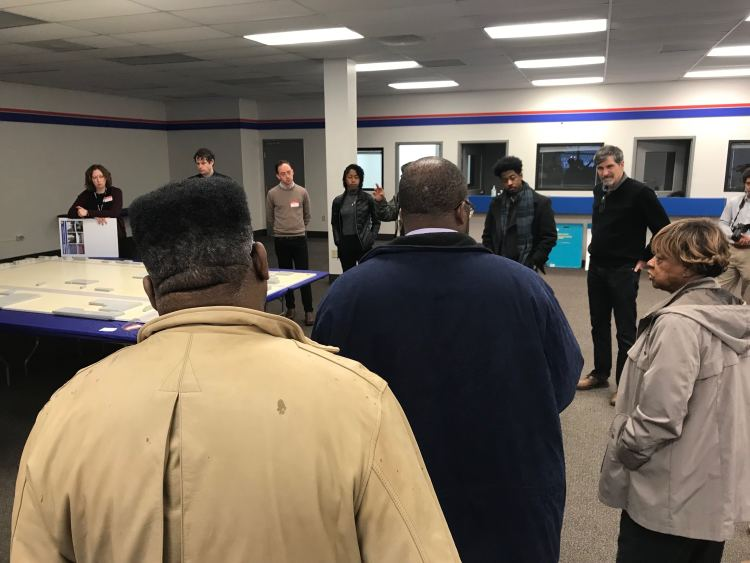 Stakeholders gather for the kickoff of the Whitehaven Plaza design charrette on January 23. Community leader Hazel Moore (far left) shares her thoughts. (Cole Bradley)