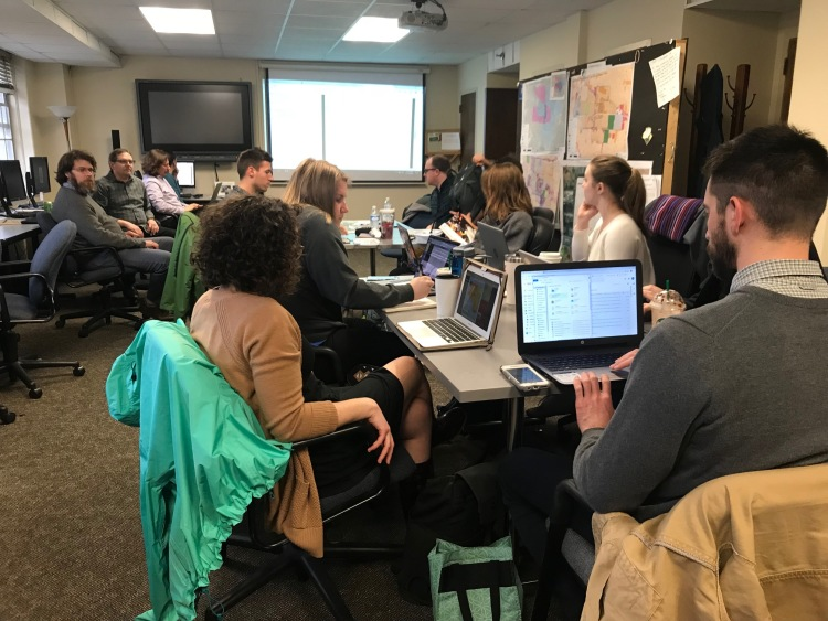 The studio class meets in McCord Hall on the University of Memphis Campus to work on planning for community engagement, a critical piece of the shared prosperity planning. (Cole Bradley)