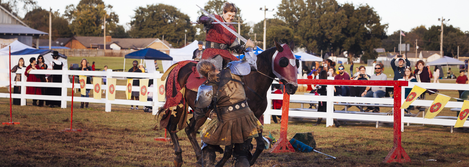 Knights joust at the 2018 Mid-South Renaissance Faire, held at the USA Baseball Stadium and Park in Millington, Tennessee. (Ziggy Mack)  <span class='image-credits'></span>