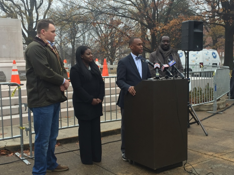 Van Turner addressed the media Thursday morning, flanked by the other board members of Memphis Greenspace. (Dylan Sandifer)