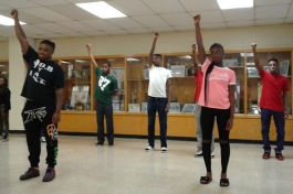 Blues City Cultural Center choreographer Kellye Crawford demonstrates moves to students at Whitehaven High School in preparation for a competitive summer internship with the nonprofit.