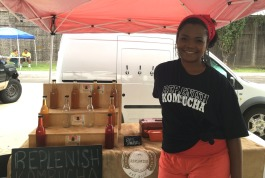Angel Jackson of Replenish Kombucha has been a regular vendor at the Downtown Farmers Market for two years. (Kim Coleman)