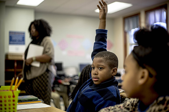 Students in Monica Shaw's third grade class work on a lesson about Peter Pan at the Memphis Scholars Caldwell-Guthrie School in Smokey City. (Andrea Morales)