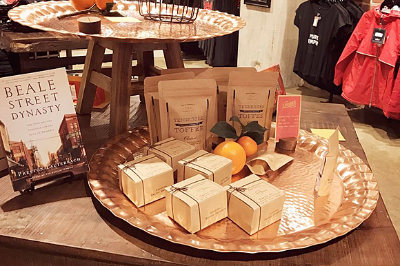 Old Dominick Distillery, a new distillery downtown, is bringing back whiskey to Memphis, and are also supporters of Memphis makers. Shotwell Candy Co. has a display in their store.