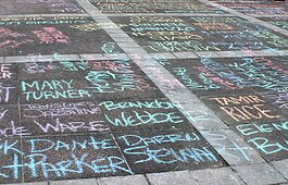 In June, activist occupied Memphis City Hall's plaza and covered it in the names of Black Americans killed by law enforcement. MICAH held a rally on the plaza demanding policing reform and other changes toward a more just Memphis. (Cole Bradley)