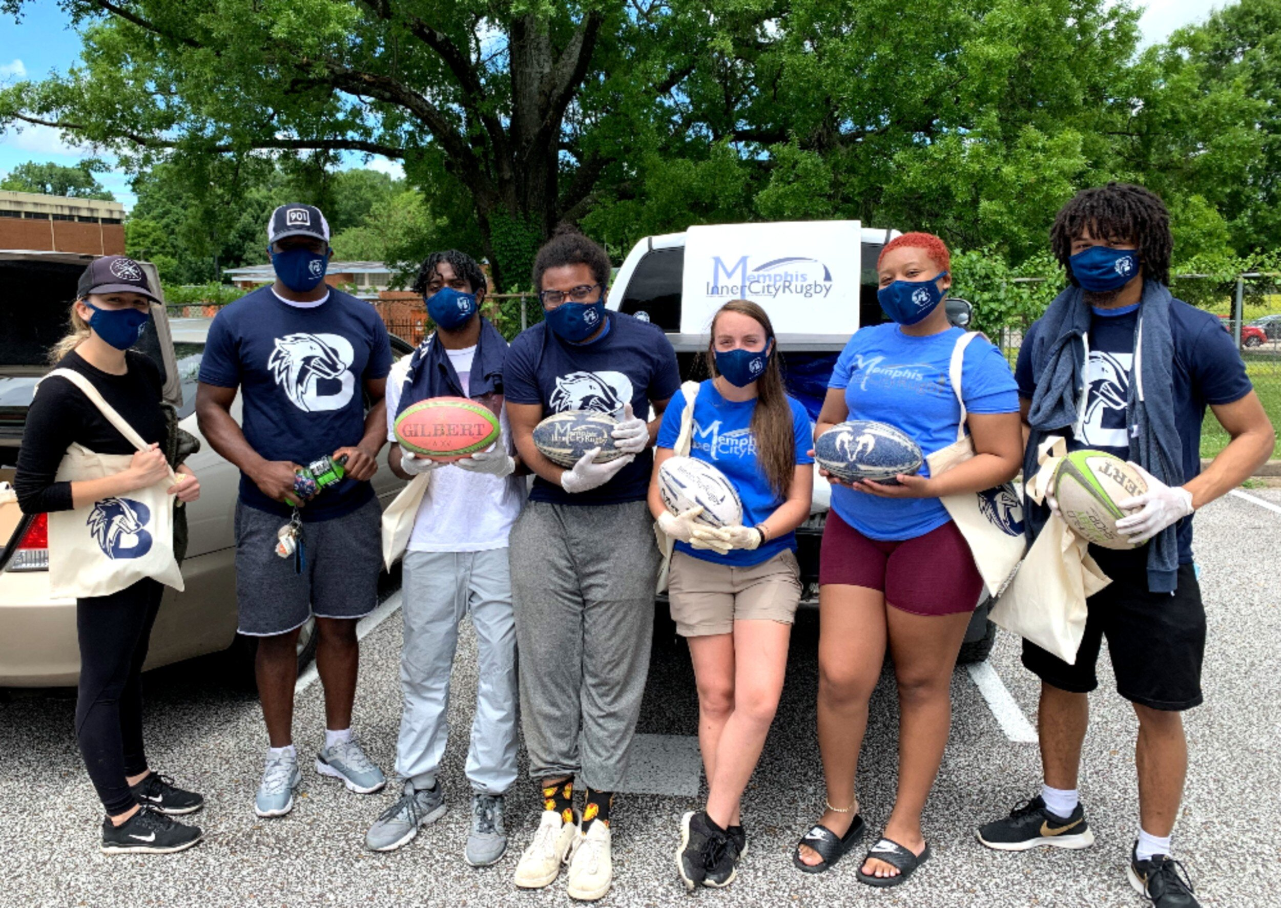 Memphis Inner-City Rugby alumni coaches and staff distributed food, basic supplies, and rugby equipment at Believe Memphis in the Klondike neighborhood. They also passed out over 650 supply bags to other North Memphis residents. (Submitted)