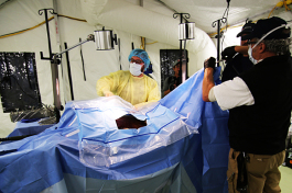 Staff and volunteers participated in a training exercise inside the operating room.