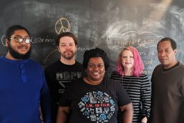 Five of the Mid-South Peace and Justice Center's six current staff members. L to R: Justin Davis, Paul Garner, Tamara Hendrix, Faith Pollan and Brad Watkins. (Submitted)