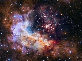 The star cluster Westerlund 2 in the Milky Way galaxy, with an estimated age of about one or two million years. (Courtesy of NASA)