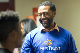 Volunteers from SunTrust Bank were on hand to help students work through their personal finance scenarios of managing a budget, balancing a checking account and preparing for unseen expenses.