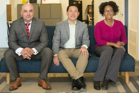 Erica Plybeah, Soo-Tsong Lim and Eduardo Perez, winners of a small business competition in the Memphis Medical District.