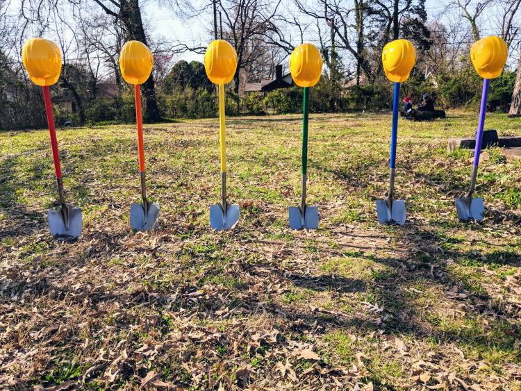 Shovels mark the groundbreaking of the Metamorphosis Project's LGBT+ youth services center and emergency shelter on March 23. (Sumbitted)