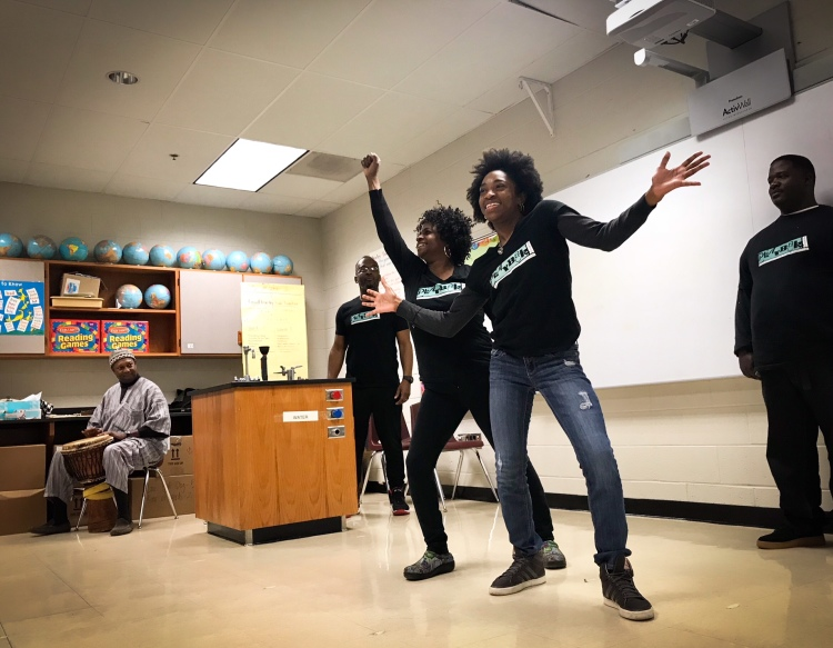 Playback Memphis ensemble members act out a student's day at Dexter Elementary. (Cole Bradley)